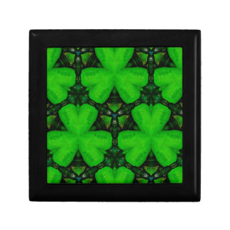 Cool Modern Vibrant Green Shamrocks Jewelry Boxes