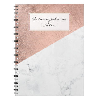 Cool modern white marble rose gold color block spiral notebook
