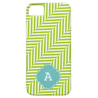 COOL monogram herringbone pattern lime turquoise Case For The iPhone 5