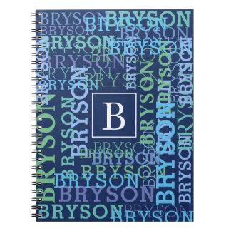 Cool Monogram Name Cloud Blue Notebook