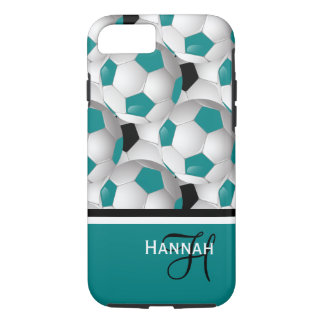 Cool Monogram Teal Black Soccer Ball Pattern iPhone 8/7 Case