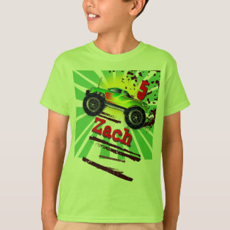 Cool Monster Truck With Custom Name & Age T Shirt