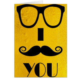 cool moustache on a beer effect image card