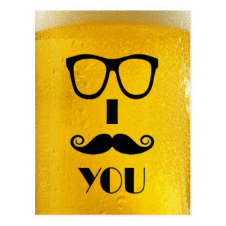 cool moustache on a beer effect image postcard