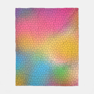 Cool Multi Color Abstract Stained Glass Pattern Fleece Blanket