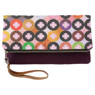Cool Multi Colored Circles & Pink Clovers Clutch