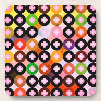 Cool Multi Colored Circles & Pink Clovers Coaster