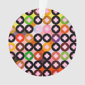 Cool Multi Colored Circles & Pink Clovers Ornament