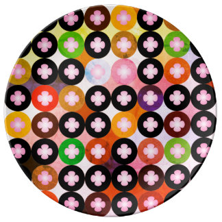 Cool Multi Colored Circles & Pink Clovers Plate