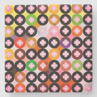 Cool Multi Colored Circles & Pink Clovers Stone Coaster