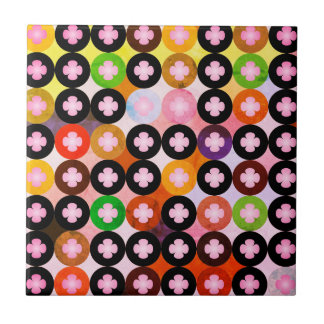 Cool Multi Colored Circles & Pink Clovers Tile