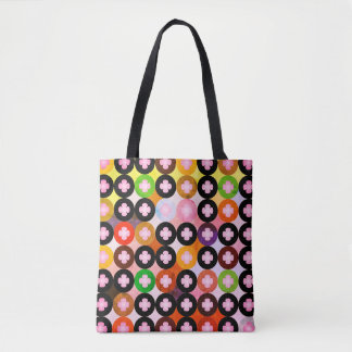 Cool Multi Colored Circles & Pink Clovers Tote Bag