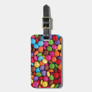 cool multi coloured chocolate buttons luggage tag