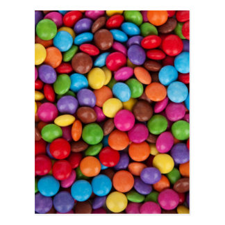 cool multi coloured chocolate buttons postcard