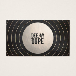 Cool Music Deejay DJ Brushed Gold and Black Business Card