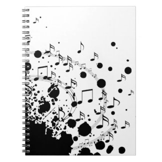 cool music explosion black and white notebook