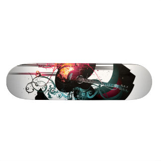 Cool Music Graphic with Guitar Skate Deck