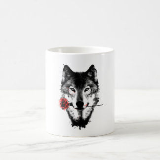 Cool Mysterious Wolf With His Romantic Rose Coffee Mug