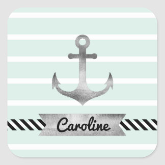 Cool Nautical Mint Stripes Anchor Personalized Square Sticker
