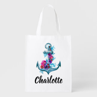 Cool Nautical Watercolor Floral Anchor Reusable Grocery Bag
