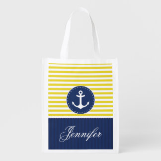 Cool Nautical Yellow Navy Anchor Customized Name Reusable Grocery Bag