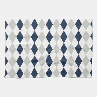 Cool Navy Blue and Gray Argyle Diamond Pattern Kitchen Towel
