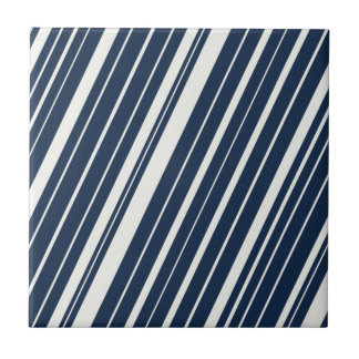 Cool Navy Blue and White Diagonal Stripes Pattern Ceramic Tile