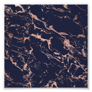 Cool navy blue rose gold marble pattern photo print