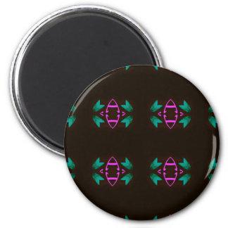 Cool Neon Fushia Teal Graphic Art Pattern Magnet