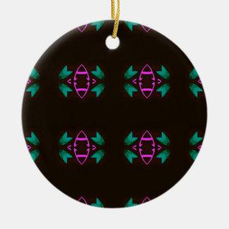 Cool Neon Fushia Teal Graphic Art Pattern Round Ceramic Ornament