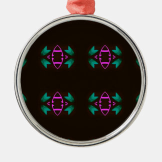 Cool Neon Fushia Teal Graphic Art Pattern Silver-Colored Round Ornament