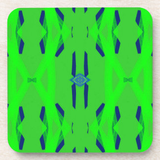 Cool Neon Green Blue Artistic Abstract Beverage Coasters