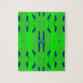 Cool Neon Green Blue Artistic Abstract Jigsaw Puzzle