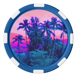 Cool Neon Hawaiian Palm Trees Poker Chips