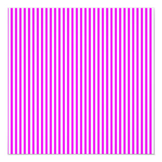 """Cool Neon Pink and White Stripes 5.25"""" Square Invitation Card"""