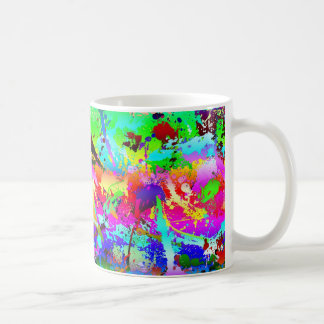 Cool Neon Rainbow Splatter Coffee Mug