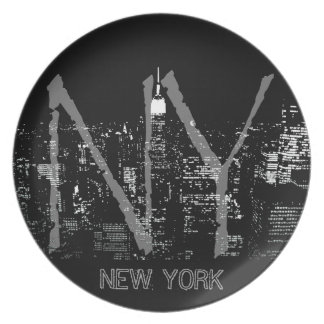 Cool New York Plate NY Souvenirs City Lights Plate