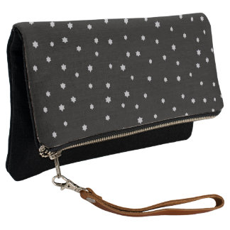 Cool Night Stars Print Black Fold Over Clutch