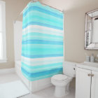 Cool Ocean Blue Aqua Turquoise Watercolor Stripes