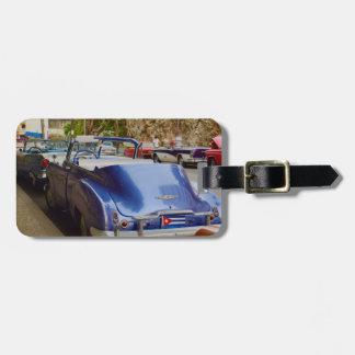 Cool Old Car in Cuba purple convertible Luggage Tag