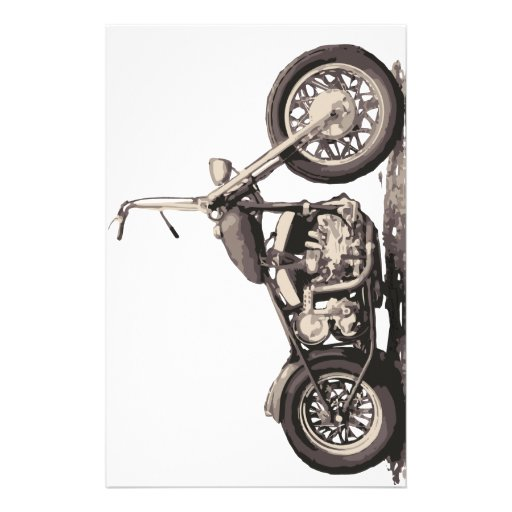 Cool Old Motorbike Customized Stationery
