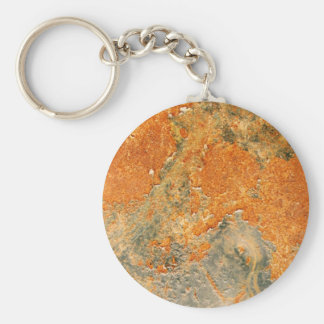Cool Old Rusted Iron Metal Basic Round Button Keychain