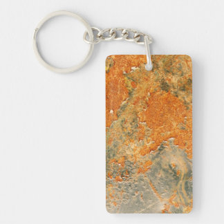 Cool Old Rusted Iron Metal Double-Sided Rectangular Acrylic Keychain