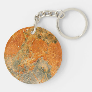 Cool Old Rusted Iron Metal Double-Sided Round Acrylic Keychain