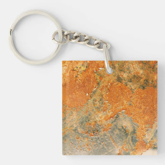 Cool Old Rusted Iron Metal Double-Sided Square Acrylic Keychain