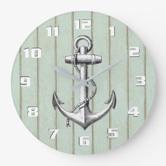 Cool Old Wood Rustic Nautical Vintage Anchor Wall Clock