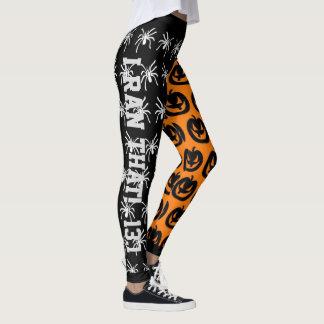 Cool Orange and Black Spiders and Pumpkins Leggings