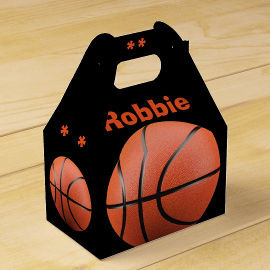 Cool Orange Basketball and Monogram Favour Box Favor Boxes