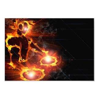 "Cool orange flames DJ icon laser light party 3.5"" X 5"" Invitation Card"