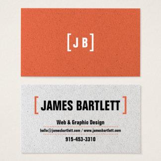Cool orange paper texture graphic designer modern business card